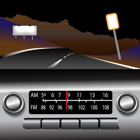 ダッシュ ボードの自動ラジオ AM FM ドライブ時間背景。暗い砂漠のハイウェイ.