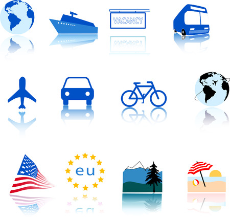 World travel is at your usersreaders fingertips, when you use these appealing, reflective traveltourism icons and global design elements. Vector