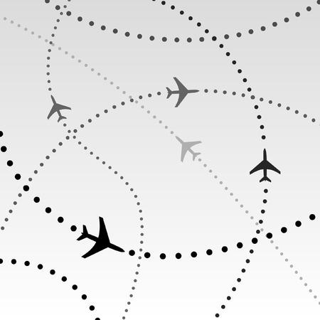 air travel: Viaggi aerei. Linee tratteggiate sono percorsi di volo commerciale compagnia aerea passeggeri aerei jet. Abstract Illustrazione