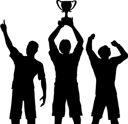 Silhouettes of three team players win a trophy and celebrate a sports or business victory. Vector