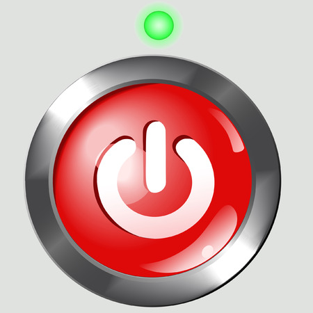 A bright red round power ON button set in a metal background, with a green LED light. Illustration.