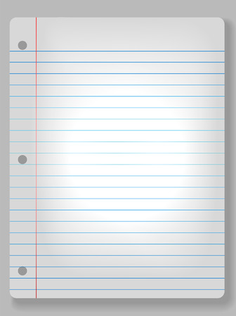 Page of wide ruled notebook paper on solid gray background - drop shadow & spotlight highlight. Easily tilt or otherwise edit it. Stock Vector - 2409450
