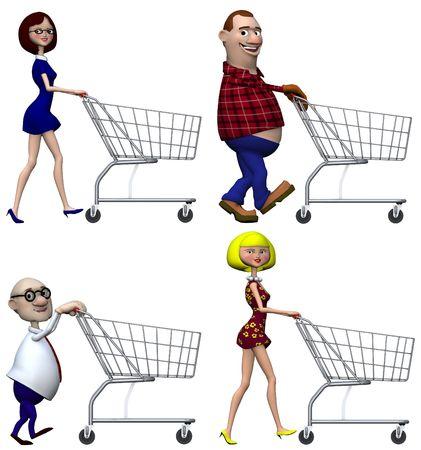 Happy lachende cartoon mensen Shoppers push winkelwagentjes. Geïsoleerd op wit. 3D-afbeelding.