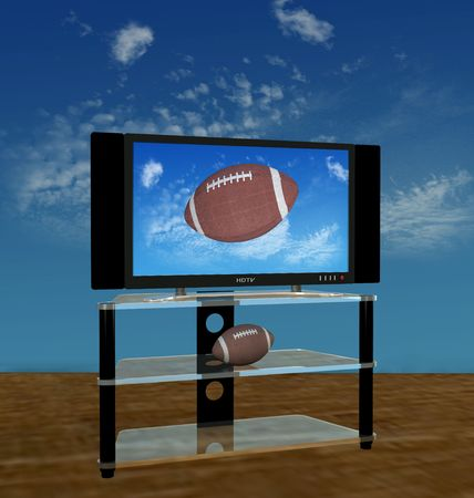 Illustration of a bright picture of American Football pass or kick flies in a high Autumn sky on HDTV scene.
