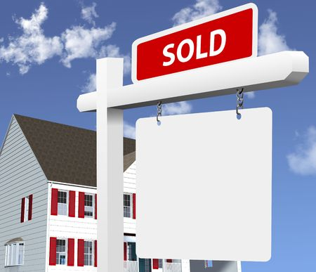 Sharp, bright illustration of a SOLD real estate sign in front of a new home. Clean 3Dvector render NOT a photo. illustration