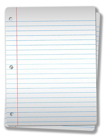 Pages of wide ruled notebook paper on solid gray background  - drop shadow & highlight, isolatated on white, Illustration NOT a photo. Stock Illustration - 2438333