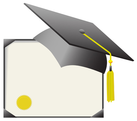 Para el día de toga y birrete: gorra y borla de graduación de la junta de mortero, con certificado de diploma. Ilustración de vector