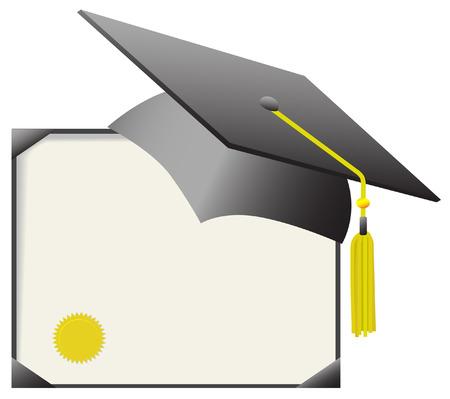 chapeau de graduation: Pour le jour de chapeau et de robe : chapeau et tassle de rep�re de panneau de mortier, avec le certificat de dipl�me. Illustration