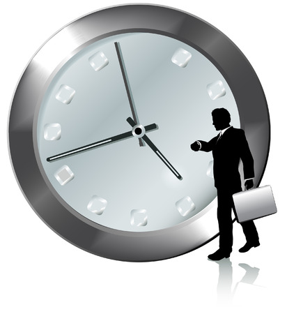 appointment: A business man on time or late for appointment walks, watches the time on his wrist watch.