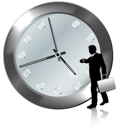 orologio da polso: Un uomo d'affari in orario o in ritardo per la nomina passeggiate, orologi il tempo per il suo orologio da polso.