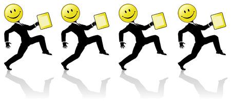 A Chorus Line équipe de joyeux, heureux de haute intensification smiley tête l'homme d'affaires silhouettes, avec des serviettes jaunes. Parfait pour les bannières publicitaires. Get happy people! Banque d'images - 2459095