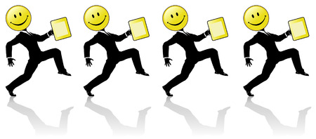 employees group: A chorus line team of happy, happy high stepping smiley head business man silhouettes, with yellow briefcases.  Perfect for banner ads. Get happy people!