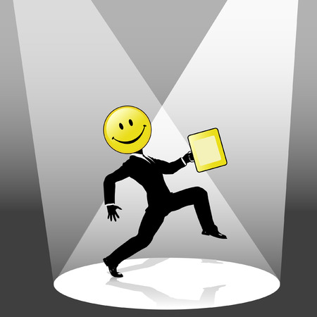 strut: A happy, happy high stepping smiley face business person silhouette, with yellow briefcase, center stage in a spotlight.