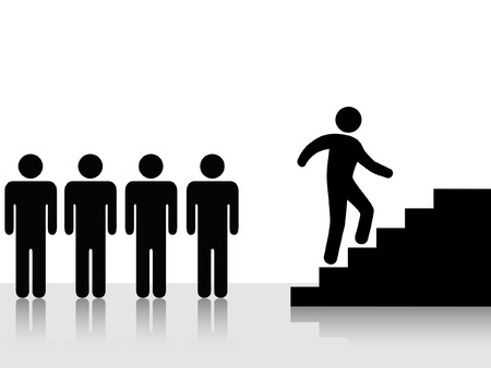 A person - group lieader - climbs stairs toward a goal: symbol of progress, ambition, promotion, achievement...