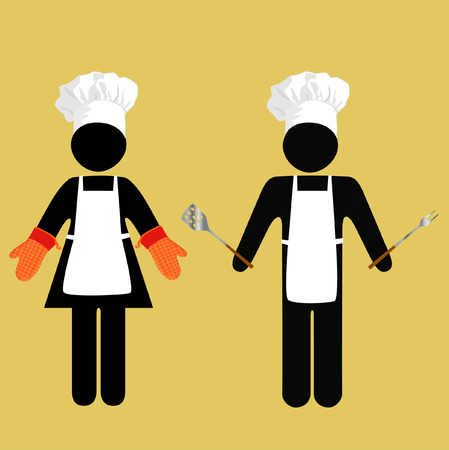 CAUTION: Cook Crossing? Chef Working? International symbolism for chefs, bakers, cookouters, and other eatery personnel.
