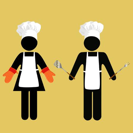 fartuch: UWAGA: Cook Crossing? Chef Pracy? Międzynarodowa symbolika dla kucharzy, piekarzy, cookouters i innych eatery personelu. Ilustracja