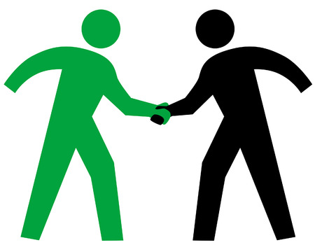 The international symbolism for Business People Meeting. Or Closing the Deal. Or Teaming Up. Vector