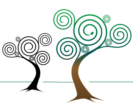 Two spirally abstract tree designs: One colorful, springtime tree, one tree design in black Illustration