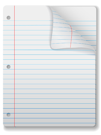 Pages of wide ruled notebook paper - page curl, drop shadow & highlight. Easily tilt or otherwise edit it. Stock Vector - 2467331