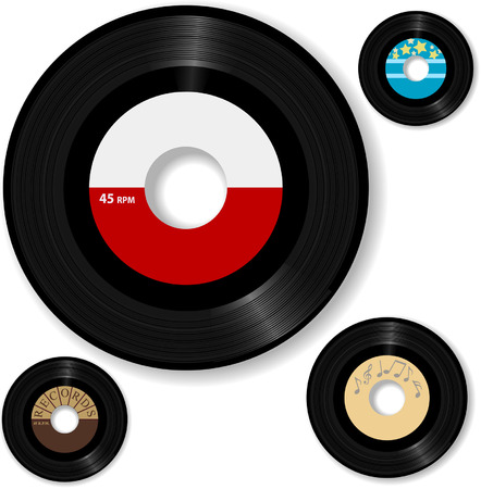 rpm: Retro 45 RPM record: with sample designs, create your own oldies music label. Illustration