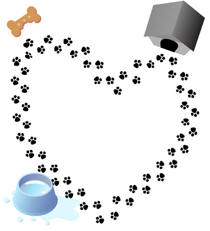 Puppy love heart shaped trail of paw prints through three doggy graphics. Illustration