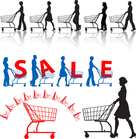 red retail: Five men & women shoppers push shopping carts. A SALE sample design, a shopping-carts element.