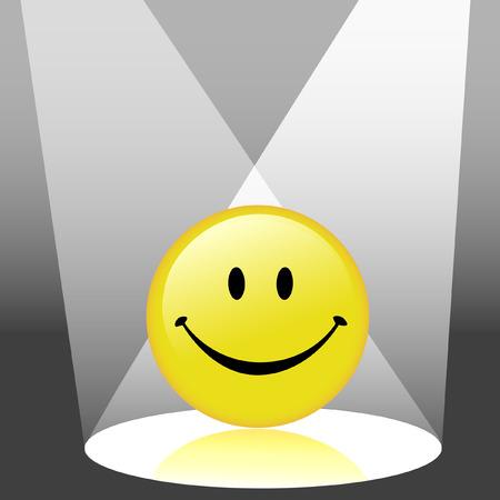 Een glanzend gele smiley gelukkig gezicht emoticon - pictogram in de schijnwerpers. Stock Illustratie