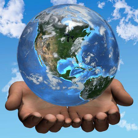 Hands hold planet Earth on a sky cloud background. Western Hemisphere. 3D render illustration.