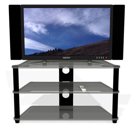 hdtv: Clean 3D render of archetypal HDTV, stand, and remote. Screen is on vector path to be easily replaced, object group is on a path to be easily lifted off the shadows. Image on screen is my photo.