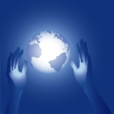 Human hands - a 3D render - reach for a mysteus glowing blue earth globe. Stock Photo - 2520454