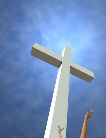 reaching hands: Een geïdealiseerd kruis en het bereiken van de handen. 3D render. Kamer voor tekst of gewas boven-en linkerkant.
