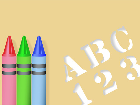 ABC 123 Stencil and three crayons - Red Green Blue - all with drop shadows, form a back to school background. Stock Vector - 2549086