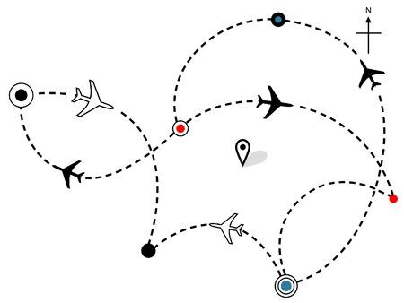 비행: Air travel. Town to city dotted lines are flight paths & travel plans of commercial airline passenger jet airplanes.