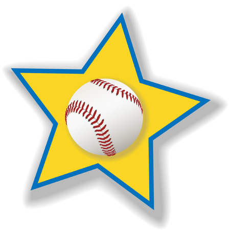 A clean, white baseball or softball on a star background for all star baseball. Sports illustration. Vector