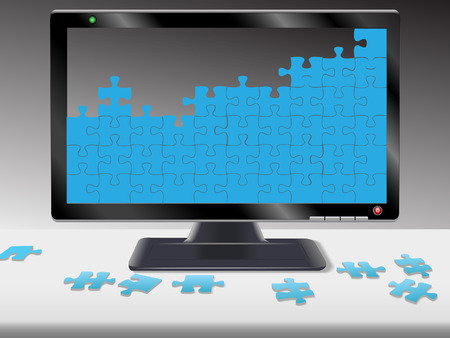 Jigsaw puzzle pieces on a computer monitor or HDTV and desk: help; problems; solutions; data; netork; etc. Stock Vector - 2549087