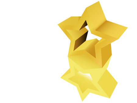 star award: A gold star award sculpture, trophy, or icon or  ornament with reflection on a white surface. Illustration.