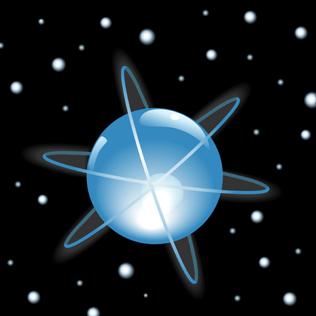 starfield: Orbits around a glowing blue Sphere in outer space, on a starfield. Illustration