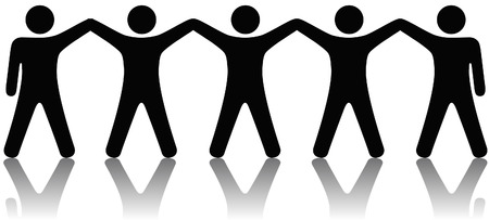 winning team: A team or group of five people with hands raised celebrate cooperation, teamwork, victory, winning