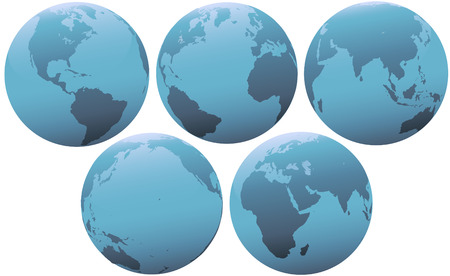 western asia: Set of blue globes of planet Earth, in soft light. Group of 5 views of Europe, Asia, Pacific, Americas Western Hemisphere.
