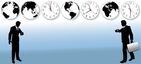 appointments: Busy business people hurry to flights or appointments to do global business. Clocks and globes suggest international airport. Illustration