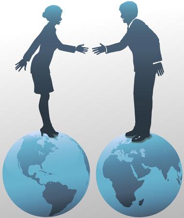 world trade: Permanente en la cima del mundo, Oriente como Occidente se re�ne gente de negocios mundial, el hombre y la mujer, se dan la mano en el acuerdo.  Vectores