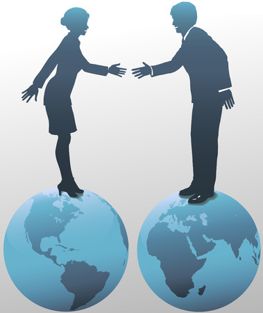 Standing on top of the world, East meets West as global business people, man and woman, shake hands in agreement. Vector