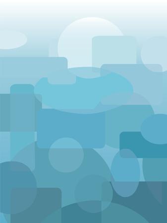 円、楕円、楕円、および青と青緑の色合いで角丸長方形の抽象的な背景。  イラスト・ベクター素材
