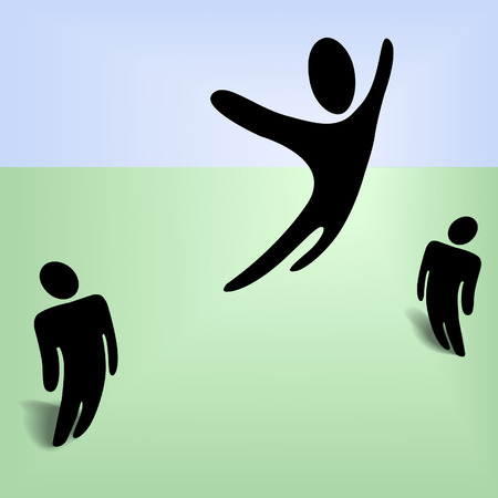 An international symbol person leaps high in the sky, jumps in celebration, excitement, extreme health and vitailty, etc.