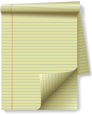 Pages of yellow legal ruled notebook pad paper - page curl flip and drop shadows. Easily tilt or otherwise edit it. Vector