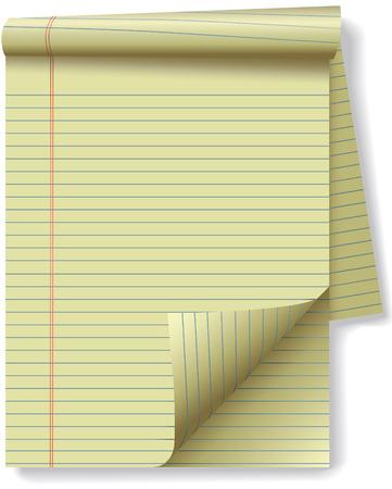 foglio a righe: Pagine di giallo giuridico stabilito notebook pad carta - pagina curl flip e ombre. Facilmente l'inclinazione o altrimenti modificare.  Vettoriali