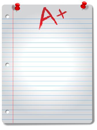 filler: P�gina del gran dictamin� el bloc de notas de papel, rojo y tachuelas grado A +, destac� por un centro de atenci�n, con una gota de sombra.  Vectores