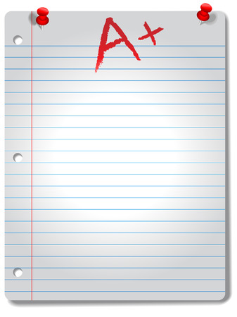 Page of wide ruled notebook paper, red tacks and A+ grade,  highlighted by a spotlight, with a drop shadow.