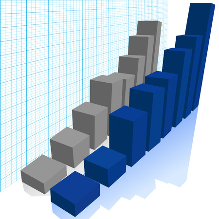 On graph paper background, comparison of a blue rising bar chart graph & a gray bar chart graph predict growth, profit, increase.