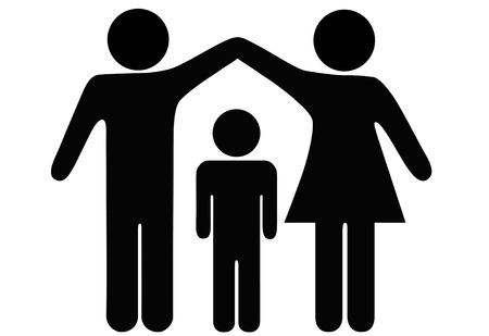 A mother and father hold up arms over their child to form a roof of security, protection, and safety. Illustration